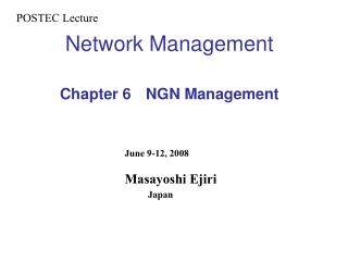 Network Management Chapter 6  NGN Management
