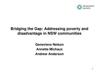 Bridging the Gap: Addressing poverty and disadvantage in NSW communities