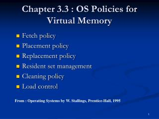 Chapter 3.3 : OS Policies for Virtual Memory