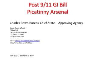 Post 9/11 GI Bill  Picatinny Arsenal