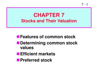 CHAPTER 7 Stocks and Their Valuation