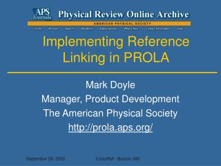 Implementing Reference Linking in PROLA
