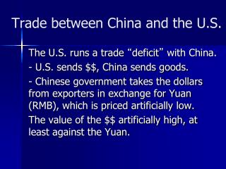 Trade between China and the U.S.