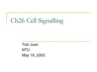Ch26 Cell Signalling