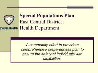 Special Populations Plan East Central District Health Department