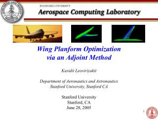 Wing Planform Optimization  via an Adjoint Method