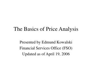 The Basics of Price Analysis