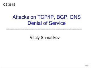 Attacks on TCP/IP, BGP, DNS Denial of Service