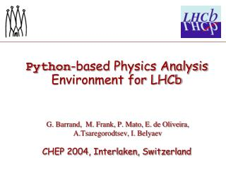 Python -based Physics Analysis Environment for LHCb