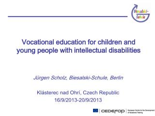Vocational education for children and young people with intellectual disabilities