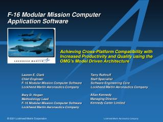 F-16 Modular Mission Computer Application Software