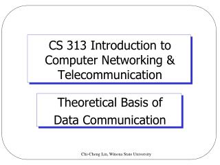 CS 313 Introduction to  Computer Networking & Telecommunication