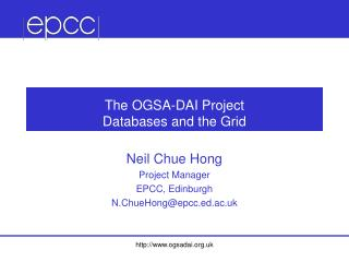 The OGSA-DAI Project Databases and the Grid