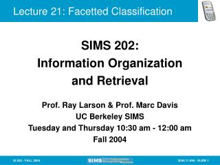 Lecture 21: Facetted Classification