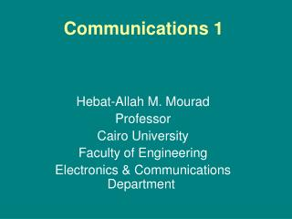 Communications 1