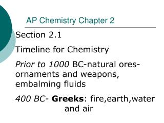 AP Chemistry Chapter 2