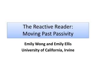 The Reactive Reader: Moving Past Passivity