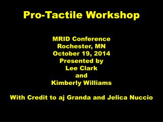 Pro-Tactile Workshop