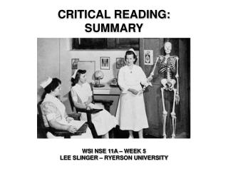 Critical Reading:  Summary