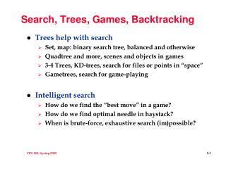 Search, Trees, Games, Backtracking