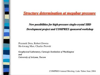Structure determination at megabar pressure New possibilities for high-pressure single-crystal XRD