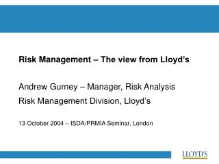 Risk Management – The view from Lloyd's