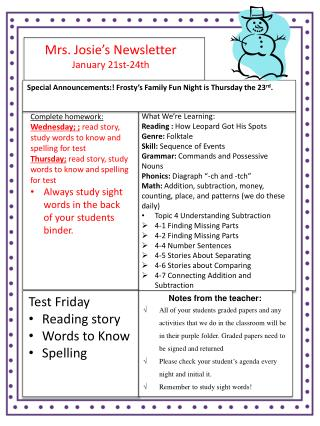 Mrs. Josie's Newsletter January  21st-24th