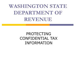 WASHINGTON STATE DEPARTMENT OF REVENUE