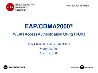 EAP/CDMA2000  WLAN Access Authentication Using R-UIM