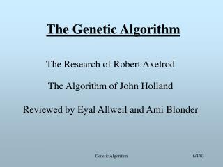The Genetic Algorithm