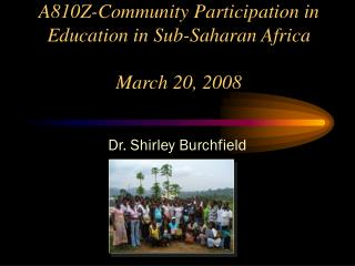 A810Z-Community Participation in Education in Sub-Saharan Africa March 20, 2008