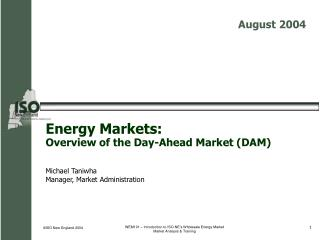 Energy Markets:   Overview of the Day-Ahead Market (DAM)