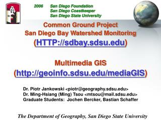 Common Ground Project San Diego Bay Watershed Monitoring  ( HTTP://sdbay.sdsu )