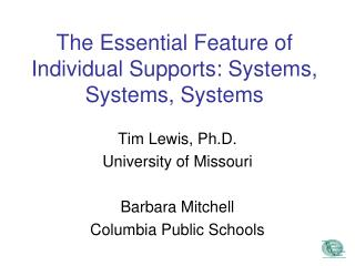 The Essential Feature of Individual Supports: Systems, Systems, Systems