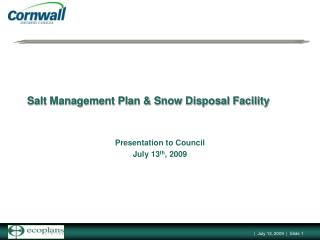 Salt Management Plan & Snow Disposal Facility