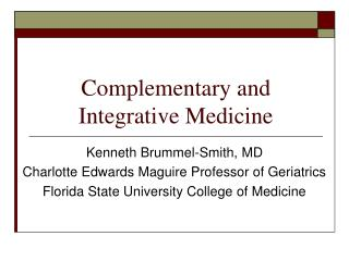 Complementary and Integrative Medicine