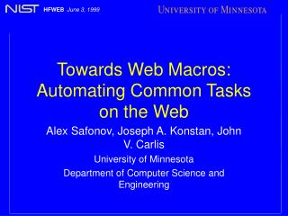 Towards Web Macros: Automating Common Tasks on the Web