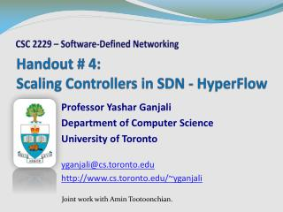 Handout # 4: Scaling Controllers in SDN - HyperFlow