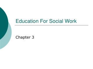 Education For Social Work