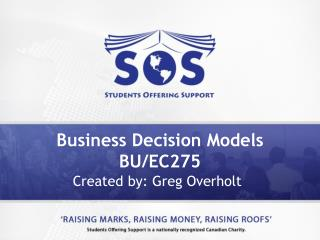 Business Decision Models BU/EC275