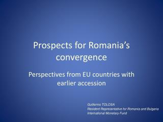 Prospects for Romania's convergence