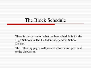 The Block Schedule