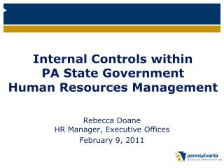 Internal Controls within  PA State Government  Human Resources Management