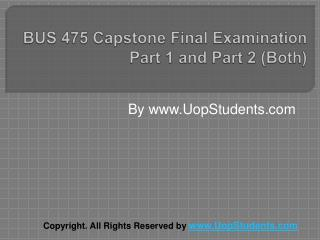 BUS 475 Capstone Part 1 and Part 2