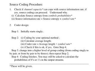 Source Coding Procedure: