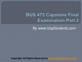 BUS 475 Capstone Part 2
