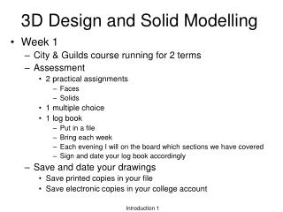 3D Design and Solid Modelling