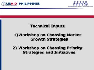 Technical Inputs Workshop on Choosing Market Growth Strategies