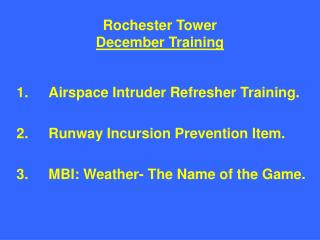 Rochester Tower December Training