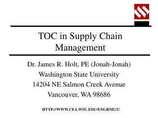 TOC in Supply Chain Management